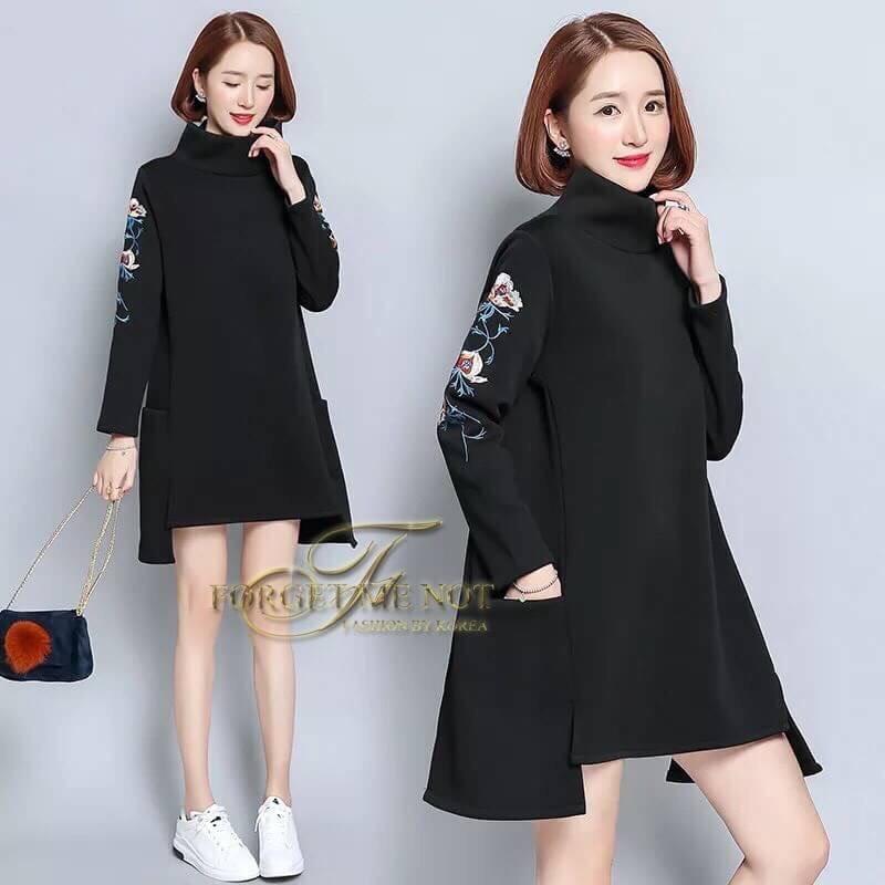 เดรสเกาหลี พร้อมส่ง Mini Dress คอเต่า แขนยาว