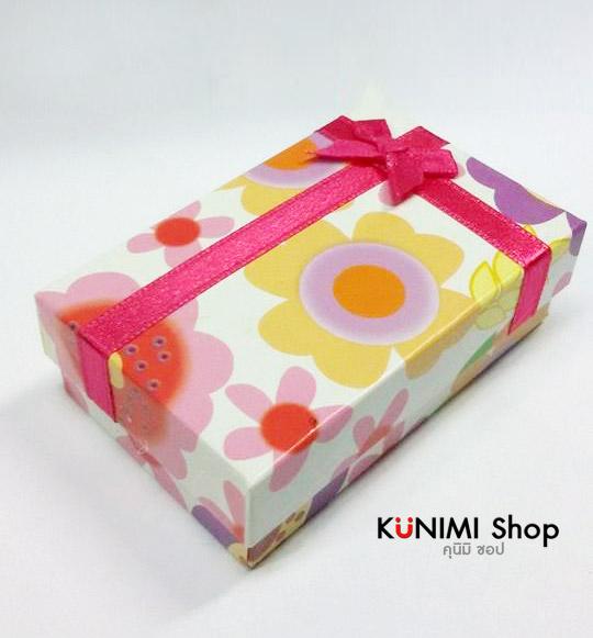 GL078 กล่องของขวัญ ลายดอกไม้สวยหวาน พร้อมโบว์สีชมพู ไว้ใส่เครื่องประดับ ต่างหู