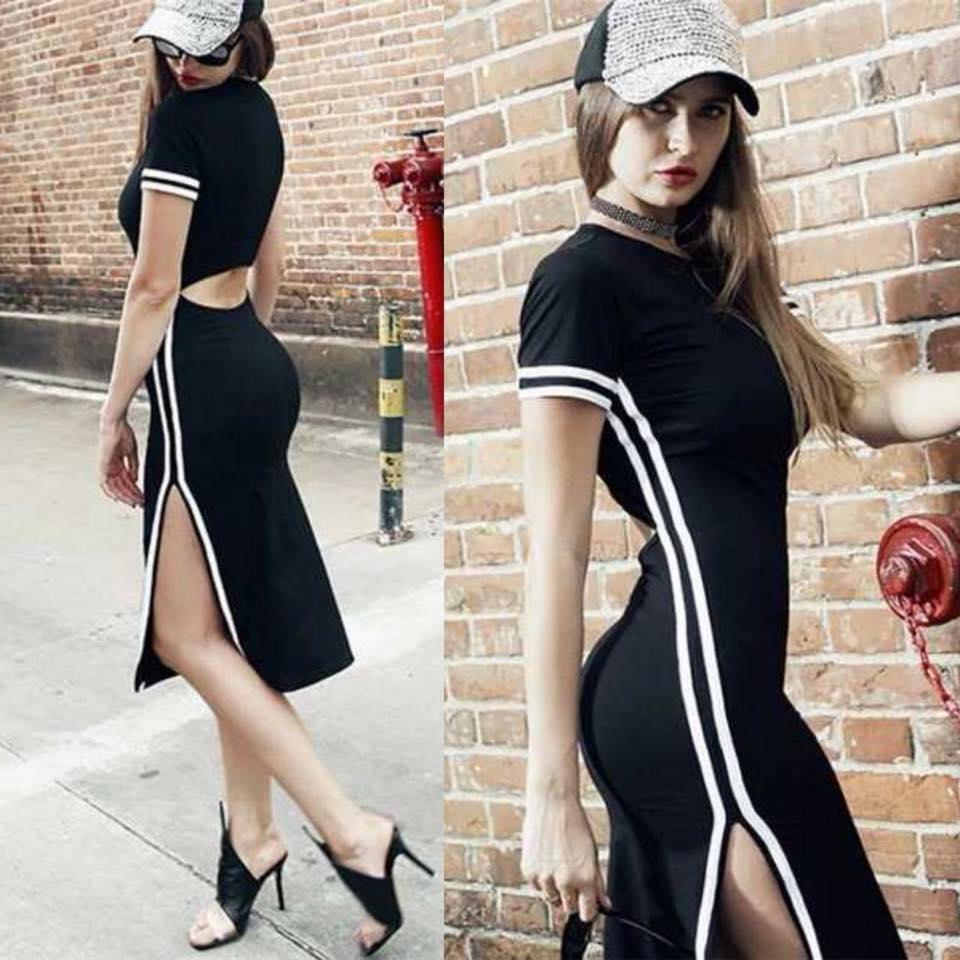 เดรสเว้าหลังสีดำ แต่งขอบคลิปสีขาว งานผ้านิ่ม ยืดหยุ่นใส่สบาย