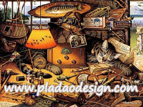 กระดาษสาพิมพ์ลาย สำหรับทำงาน เดคูพาจ Decoupage แนวภาำพ เจ้าแมวตัวใหญ่นอนเฝ้าอุปกรณ์ตกปลาให้เจ้าของในเพิงเก็บของใกล้ทะเลสาบ