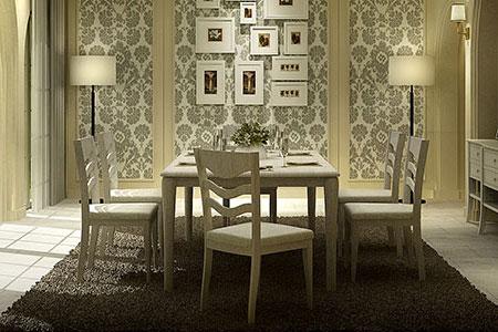โต๊ะอาหารพร้อมเก้าอี้ดีไซน์สวย สีขาว สำหรับใช้ในบ้าน ร้านอาหาร