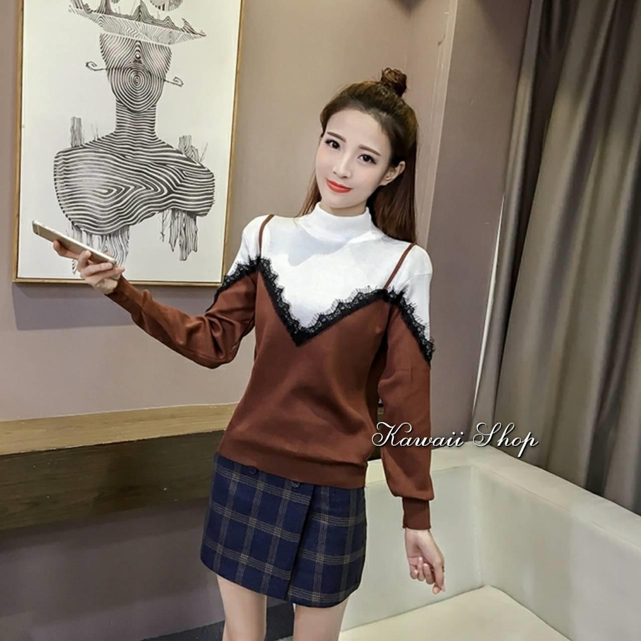 เสื้อเกาหลี พร้อมส่ง เสื้อไหมพรมแขนยาว