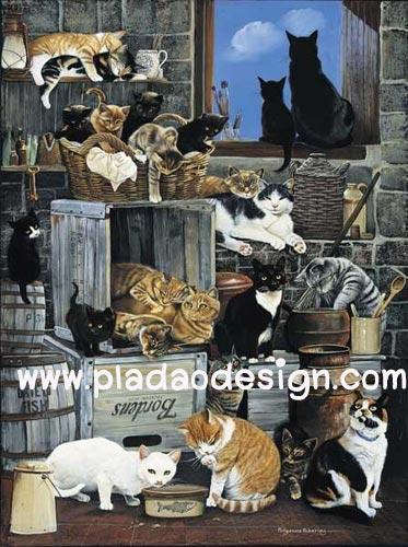 กระดาษสาพิมพ์ลาย สำหรับทำงาน เดคูพาจ Decoupage แนวภาพ ห้องเก็บของ แหล่งรวมตัว ประชุมลับของบรรดาน้องแมวแมว