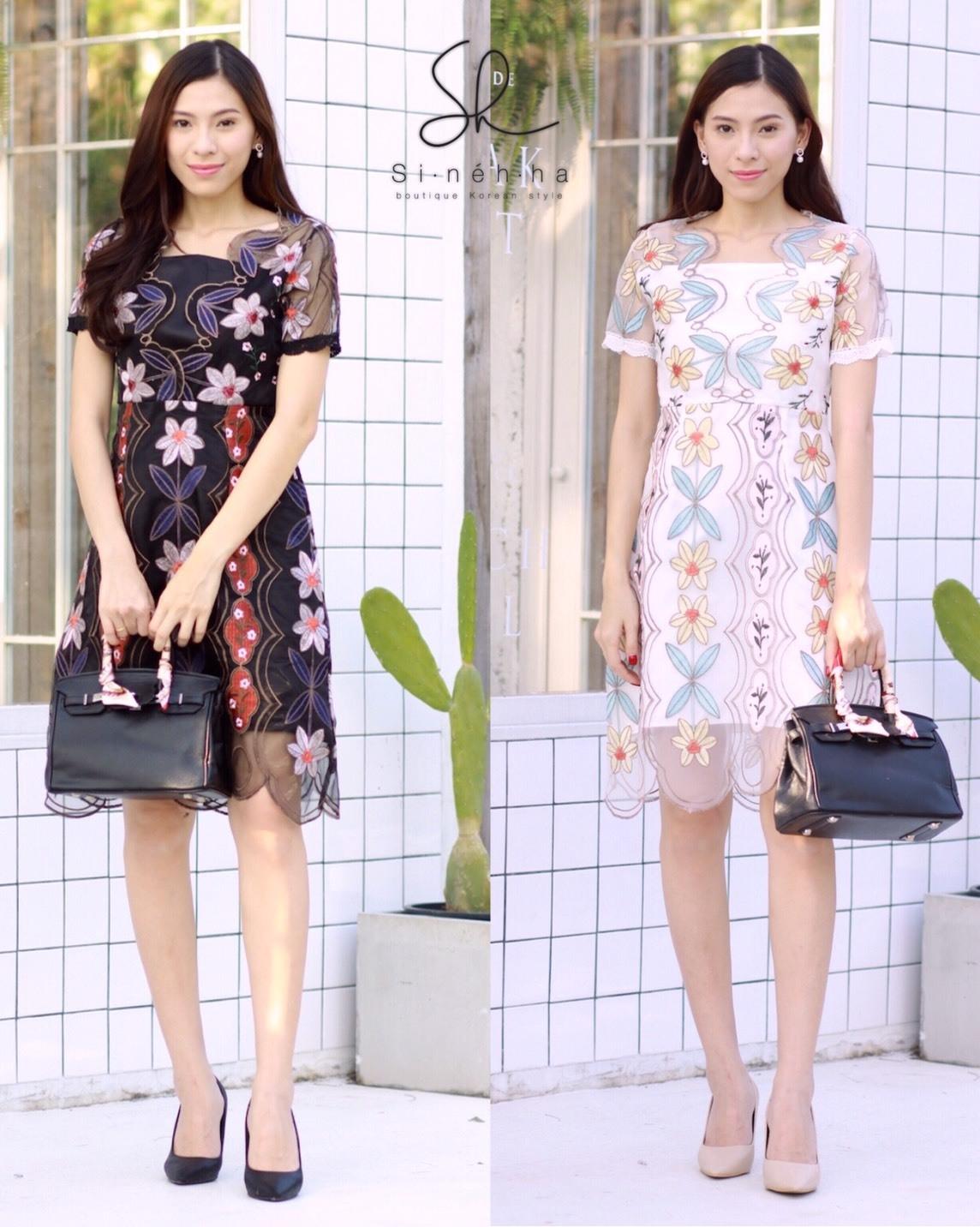 ชุดเดรสเกาหลี พร้อมส่ง Dress ผ้าแก้วปักลูกไม้ลายดอก