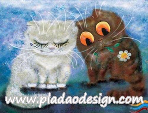 กระดาษสาพิมพ์ลาย สำหรับทำงาน เดคูพาจ Decoupage แนวภาพ การ์ตูนอย่างน่ารัก แมวอ้วนขาวร้องไห้ แมวอ้วนดำเอาดอกไม้มาง้อ