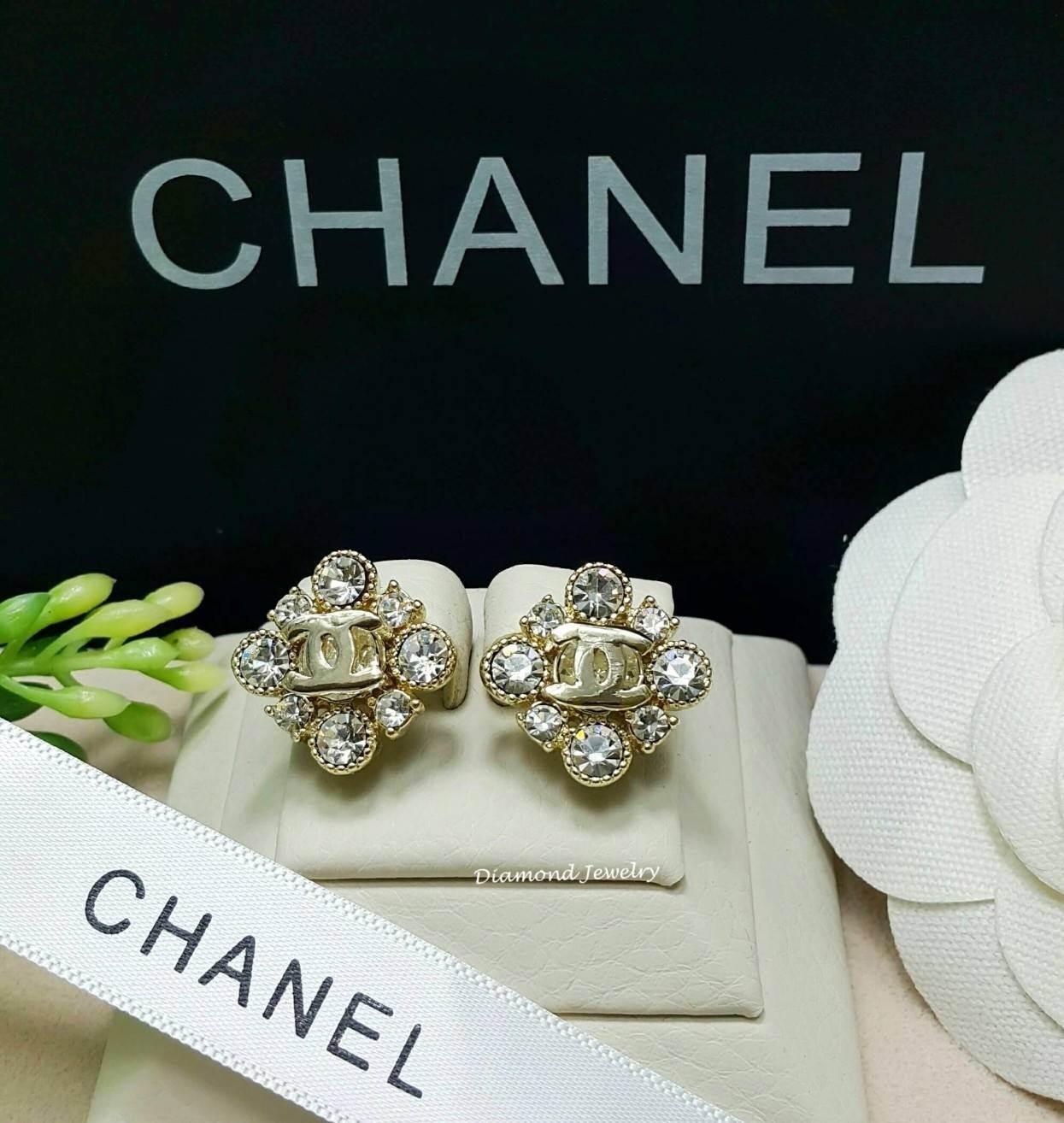 พร้อมส่ง ต่างหู Chanel งานเพชร CZ แท้