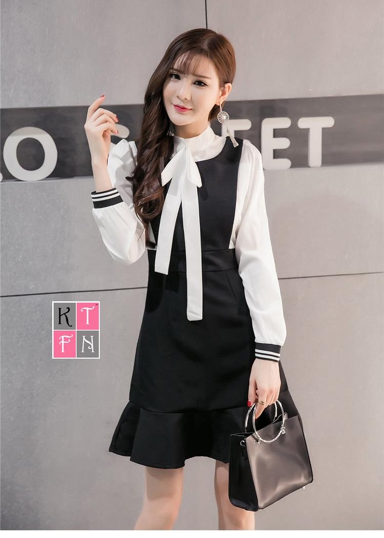 KTFN ชุดเดรสแฟชั่นเกาหลีน่ารัก คอแต่งโบว์ กระโปรงเข้ารูปตัดต่อระบายชาย สีดำ