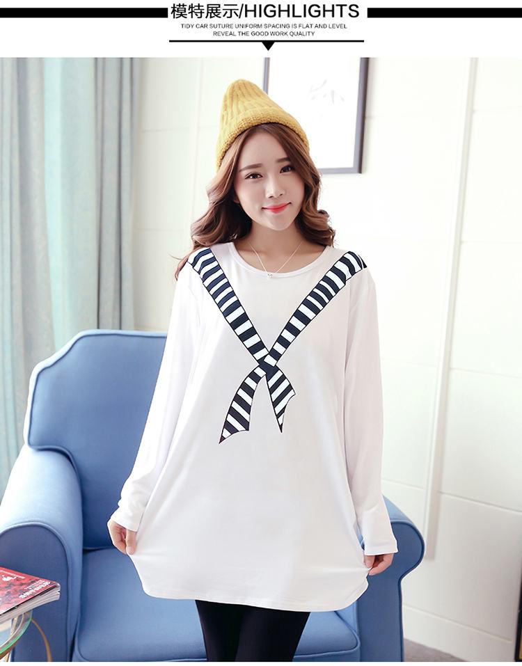 เสื้อแฟชั่นตัวยาว พิมพ์ลายผ้าพันคอ สีขาวแขนยาว ผ้านิ่มมาก