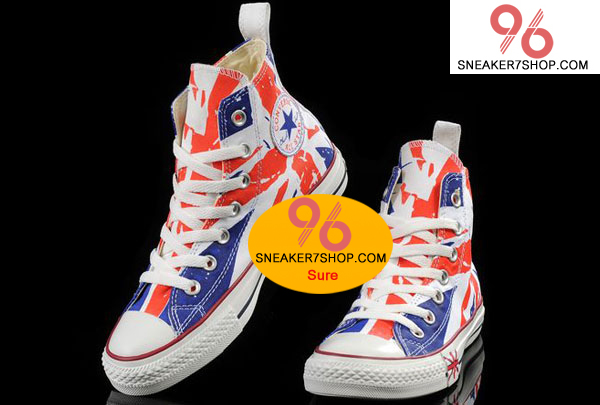 รองเท้าผ้าใบ Converse 2014 Hot Converse London British UK Flag Print Chuck Taylor All Star High Tops Shoes Size 37-44 พร้อมกล่อง