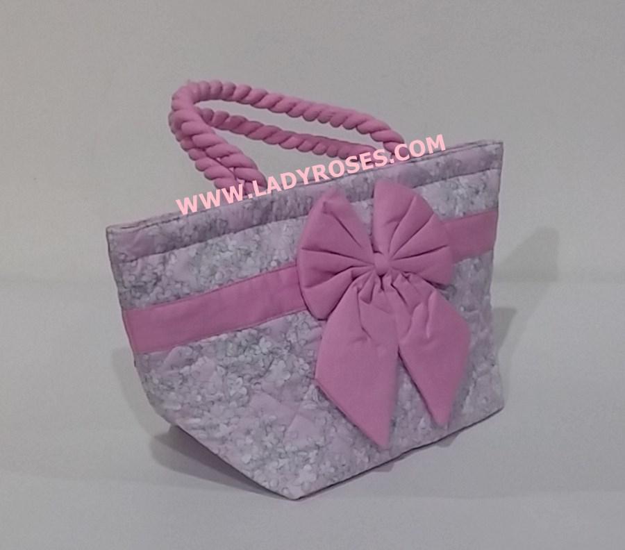 กระเป๋าถือ นารายา Size S ผ้าคอตตอน สีชมพู ลายดอกชบา สีขาว ผูกโบว์ สายหิ้ว หูเกลียว (กระเป๋านารายา กระเป๋าผ้า NaRaYa กระเป๋าแฟชั่น)