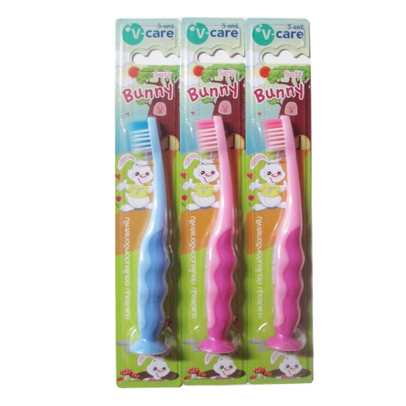 แปรงสีฟันเด็ก V-Care รุ่น Bunny สีฟ้า ชมพู