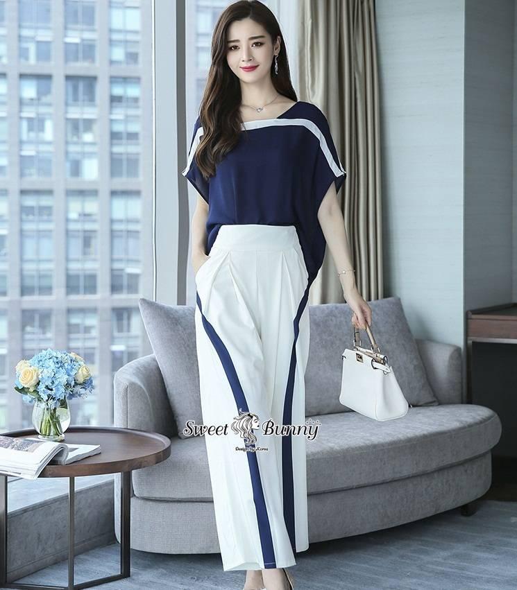 ชุดเซทแฟชั่น เซ็ทเสื้อ+กางเกงเกาหลี เสื้อผ้าสีน้ำเงินเนื้อดีผ้านุ่มทรงคอเหลี่ยม
