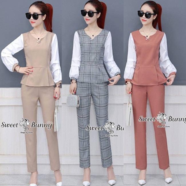 ชุดเซทแฟชั่น ชุดเซ็ทเสื้อ+กางเกง+เข็มกลัดงานเกาหลี เนื้อผ้าดีมีน้ำหนัก แขนเสื้อผ้าคอตตอนเชิ้ตสีขาว