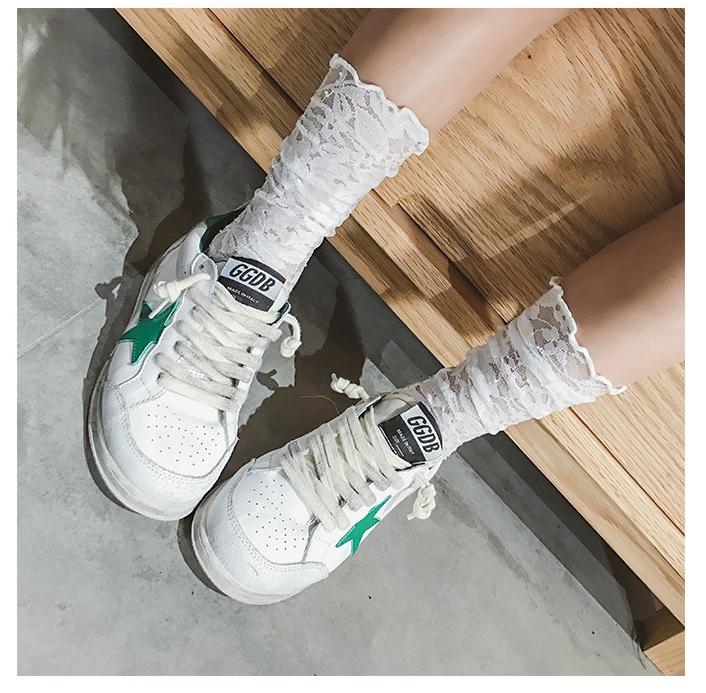 ถุงเท้าเด็กตาข่าย ถุงเท้าแบบโปร่ง ลายดอกไม้ สีขาว M