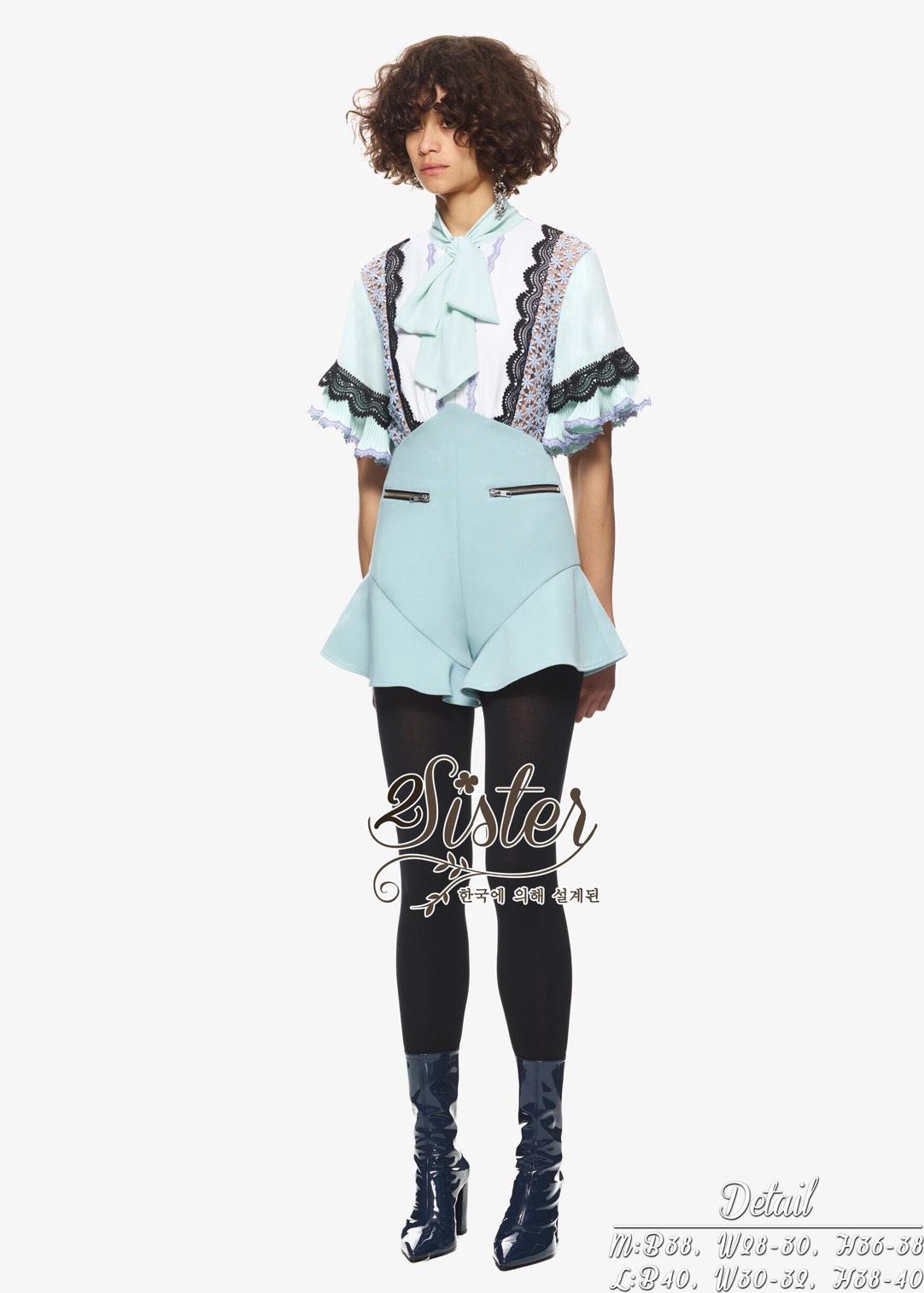 ชุดเซทแฟชั่น เซ็ทเสื้อ+กางเกงงานสไตล์แบรนด์ดัง ตัวเสื้อผ้า chiffon แต่งผ้าลูกไม้สวย