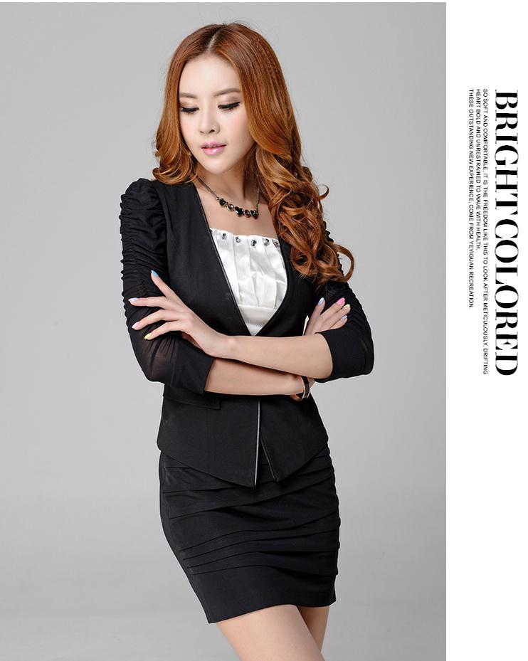 Pre-Order ชุดสูทแฟชั่นผู้หญิง แบบบาง ซับในครึ่งตัว แขนสามส่วน แต่งแขนด้วยผ้าโปรง +กระโปรงสอบ +เสื้อซับใน สีดำ