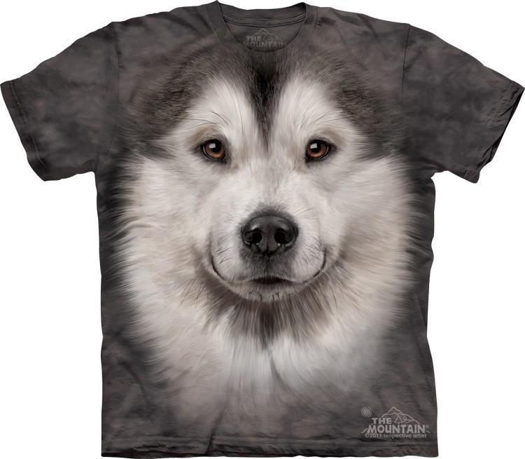 Pre.เสื้อยืดพิมพ์ลาย3D The Mountain T-shirt : Alaskan Malamute Face