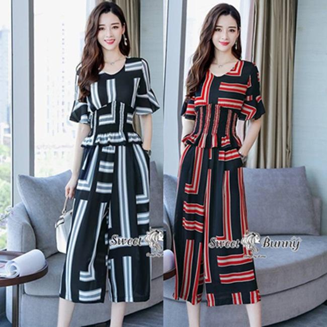 ชุดเซทแฟชั่น ชุดเซ็ทเสื้อ+กางเกงงานเกาหลี ทั้งชุดเป็นผ้าทอเนื้อดี