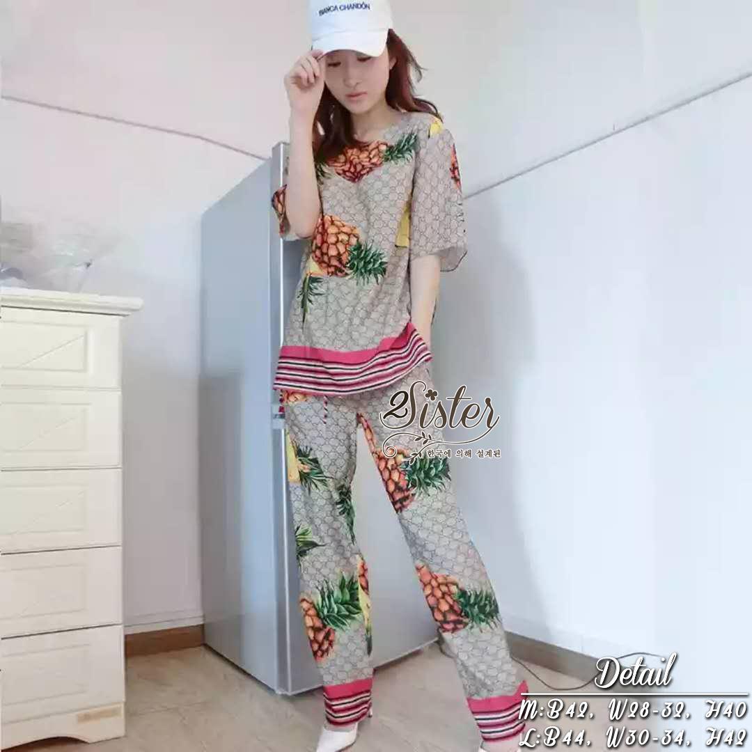 ชุดเซทแฟชั่น เซ็ตเสื้อ+กางเกงเข้าชุดกัน พิมพ์ลายสัปปะรดน่ารักๆ