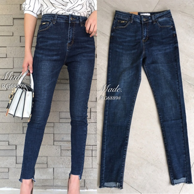 กางเกงแฟชั่น กางเกงยีนส์ขายาวสีเข้มสวยสุด เอวสูง