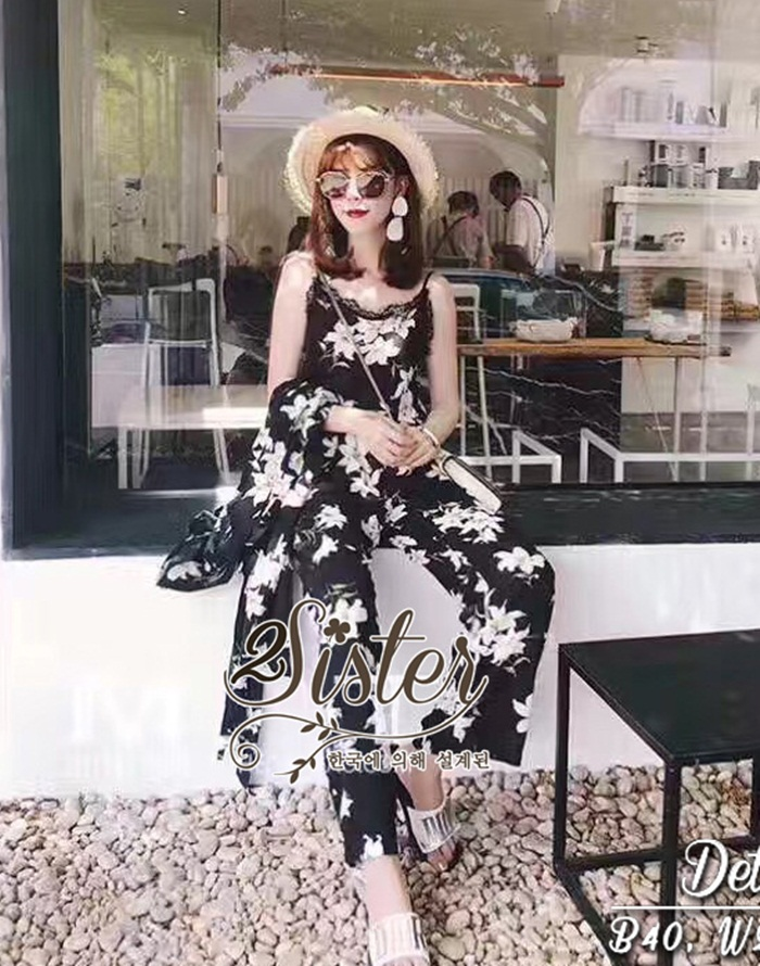 ชุดเซทแฟชั่น เซ็ตเสื้อ+กางเกงใส่เข้าชุดกัน เนื้อผ้า chiffon เกรดดี พิมพ์ลายดอกไม้สวยทั้งตัว