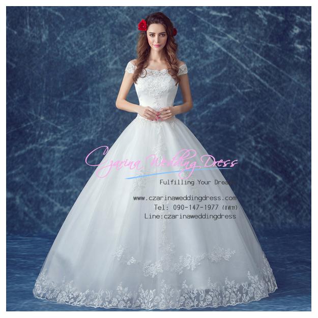 wm5118 ขาย ชุดแต่งงาน เจ้าหญิงเรียบหรู เปิดไหล่ ดีเทลลูกไม้ ใส่ถ่ายพรีเวดดิ้ง สวยหรู ดูดีที่สุดในโลก ราคาถูกกว่าเช่า