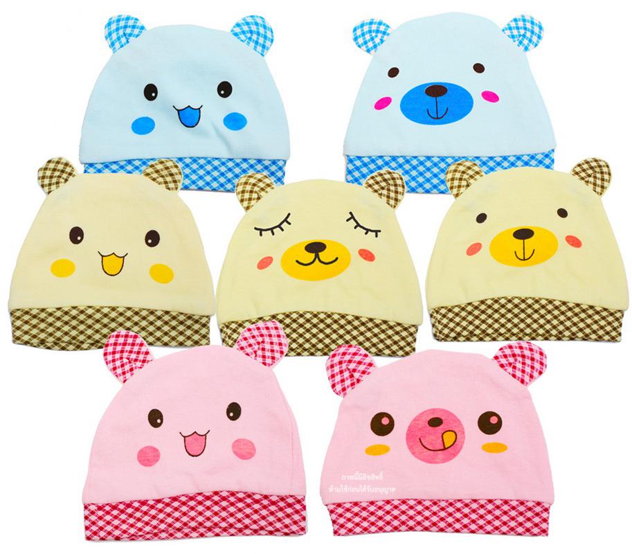 หมวกเด็กแรกเกิดหูตั้งลายสัตว์