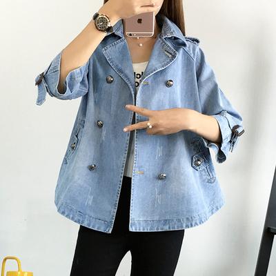 เสื้อแจ็คเก็ตยีนส์เกาหลี ตัวยาว แต่งกระดุมคู่ ดีไซน์แขนเสื้อ มี2สี