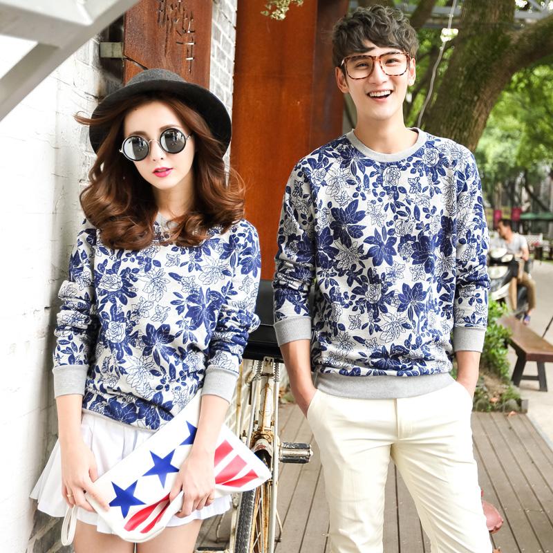 Pre Order ชุดคู่รักเกาหลี เสื้อแจ็กเก็ตแขนยาว พิมพ์ลายดอกไม้ทั้งตัว แต่งขอบ <มี2สี>