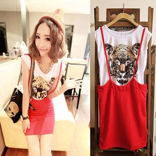 ++สินค้าพร้อมส่งค่ะ++ชุดเดรสเกาหลี 2 ชิ้น เสื้อแขนเต่อ+กระโปรงเอี้ยมสั้นน่ารัก ผ้า cotton เนื้อหนาค่ะ แบบน่ารัก – สีแดง