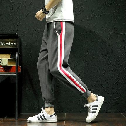 กางเกงวอร์มขายาวเกาหลี แต่งแถบเส้นสลับด้านข้าง มี2สี