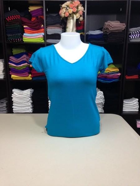 """เสื้อยืดคอวี สีฟ้าน้ำทะเล size """"M"""""""
