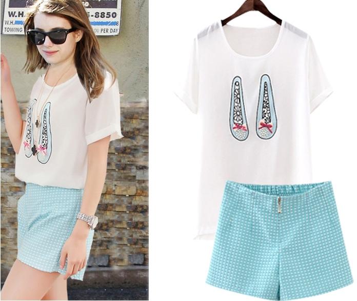 Pre Order - เสื้อ-กางเกงขาสั้นแฟชั่นคนอ้วน ไซด์ใหญ่ เหมาะกับฤดูร้อน เสื้อยืดสีขาวพิมพ์ลายผูกโบว์เล็ก ๆ กางเกงขาสั้นลายจุด