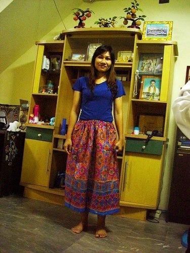 กระโปรงเอวยางยืด ยาว 35 นิ้ว Elastic Skirt Thai Sarong