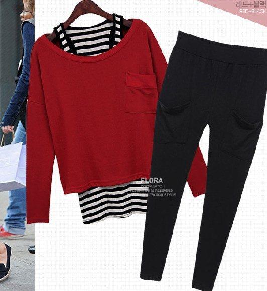PreOrderไซส์ใหญ่ - เซตคู่ 3 ชิ้นไซส์ใหญ่ เสื้อกล้าม เสื้อแขนยาว กางเกงขายาว เหมาะกับหน้าหนาวบ้านเรา สี : สีแดง / สีดำ