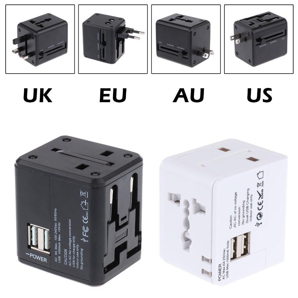 ปลั๊กไฟ Dual USB Universal Adapter พร้อม USB 2 ช่อง ใช้ได้ทั่วโลก US/UK/EU/AU