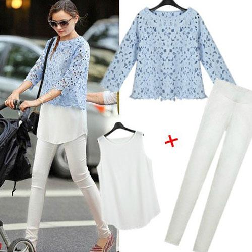 PreOrderคนอ้วน - เซตคู่ คนอ้วน ไซส์ใหญ่ 3 ชิ้น เสื้อลูกไม้สวยงาม + เสื้อกล้ามสีขาวยาว + กางเกงสกินนี่ขายาวยืดได้สีขาว