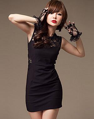 ++เสื้อผ้าเกาหลี++*พร้อมส่ง*ชุดเดรสสั้นแฟชั่นเกาหลีสีดำแขนกุดแต่งผ้าลูกไม้ตรงอกหน้าหลังและช่วงเอวน่ารักค่ะ