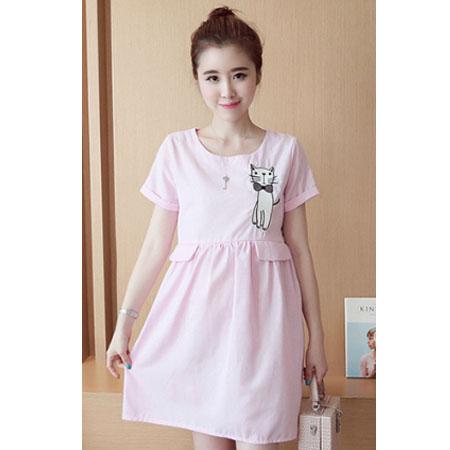Maternity dress ชุดคลุมท้อง สีชมพู ลายแมว