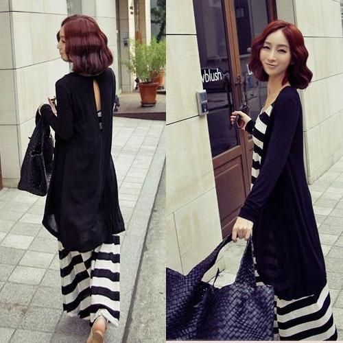 ++สินค้าพร้อมส่งค่ะ++ เสื้อคลุมยาวเกาหลี สไตล์ Cardigan สำหรับคลุม ตัวเสื้อไขว่กัน ด้านหลังมีเว้าหยดน้ำ – สีดำ