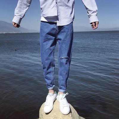 กางเกงยีนส์ขายาว ทรงฮาเร็ม แต่งขาดเซอร์ๆ มี2สี