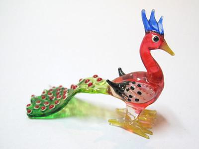 นกยูงแก้วเป่า Glass Figurine Peacock