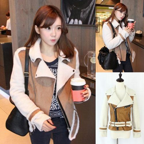 ++สินค้าพร้อมส่งค่ะ++ เสื้อแฟชั่น Jacket เกาหลี แขนยาว คอปก ผ้า organic skin + lamb wool เนื้อดีมาก มีเข็มขัดรัดช่วงเอวดีไซด์เท่ห์ – สี Khaki