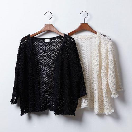 ++สินค้าพร้อมส่งค่ะ++เสื้อ Cardigan ผ้า knit สไตล์ลูกไม้ถักแสนหวานค่ะ มี 2 สีค่ะ – สี ดำ