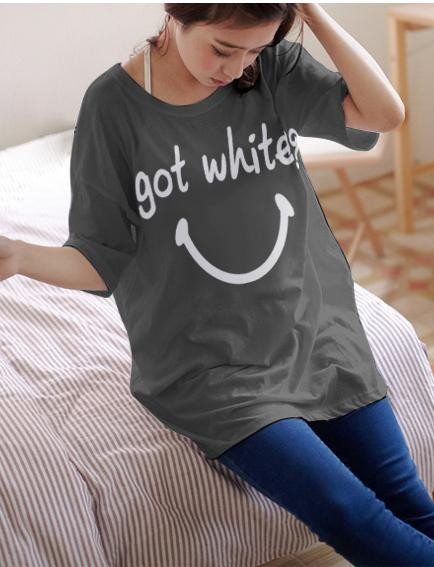 เสื้อยืดเกาหลี ตัวยาว ลาย Got White สีเทา