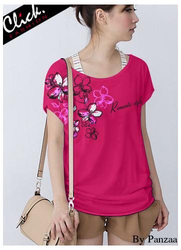 เสื้อยืดแฟชั่น ชายปล่อย ลาย Romantic Style สีชมพูบานเย็น