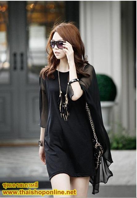 ชุดเดรสเกาหลี เดรสสั้น ผ้า COTTON ตัดต่อผ้าชีฟอง สีดำ แฟชั่นเกาหลี ราคาถูก ใส่เที่ยวสบาย ชิวๆ thaishoponline (พร้อมส่ง)