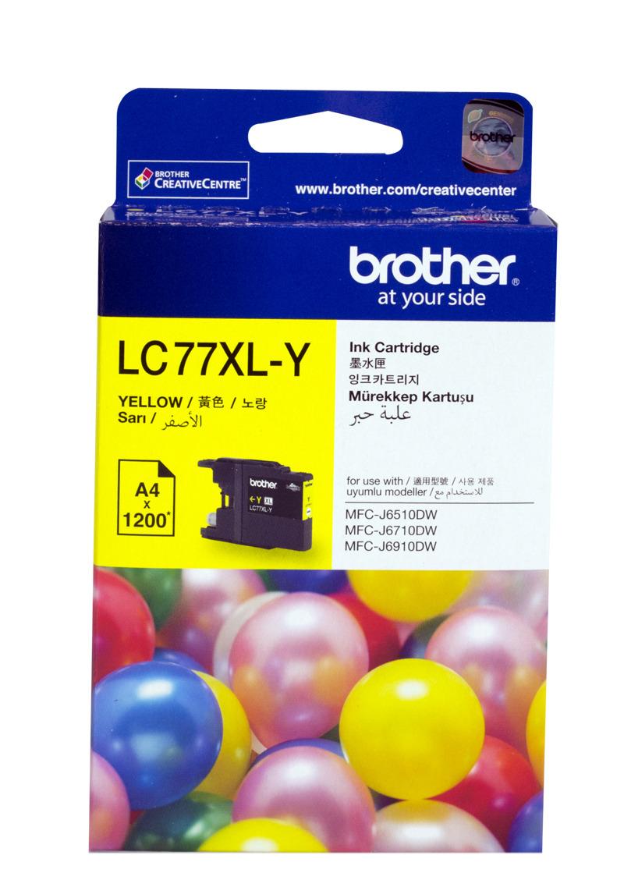 Brother LC-77XLY ตลับหมึกอิงค์เจ็ท สีเหลือง Yellow Original Ink Cartridge (Super High Yield)