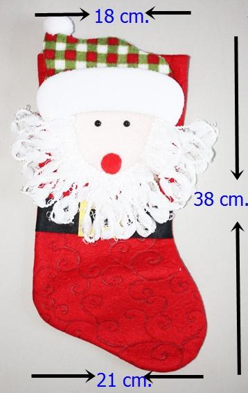 ถุงเท้าขนาดใหญ่สำหรับใส่ของขวัญ จาก Santa Claus ลาย Santa ขนาด 38*18*21 ซม. (สวยมาก เด็กๆ ชอบ) (ไม่ต้องซื้อคู่ชุดแฟนซี)