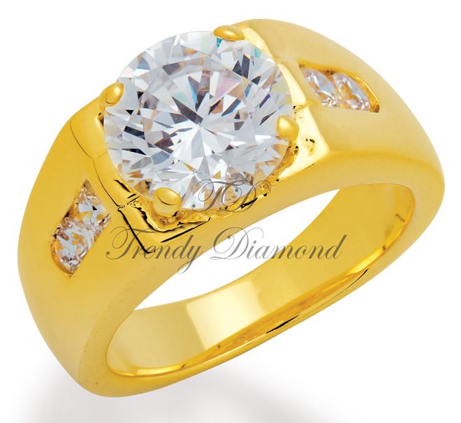 แหวนเพชรCZ เพชรสวิส แหวน Emperor สีทอง
